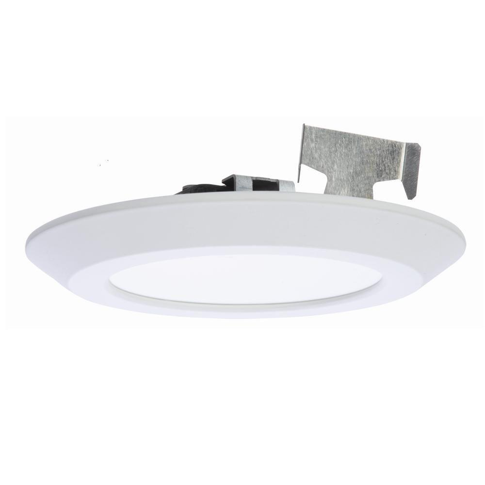 Halo 5 in. and 6 in. Matte White Recessed LED Surface Disk Light ...