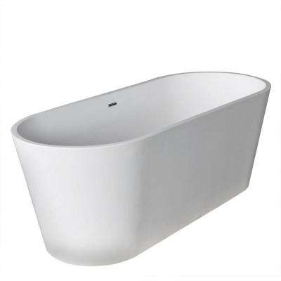 Heart Stone 5.6 ft. Artificial Stone Center Drain Oval Bathtub in White