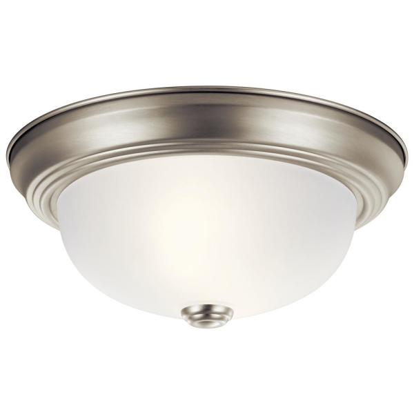 Independence 11.25 in. 2-Light Brushed Nickel Flush Mount Ceiling Light with Etched Seedy Glass