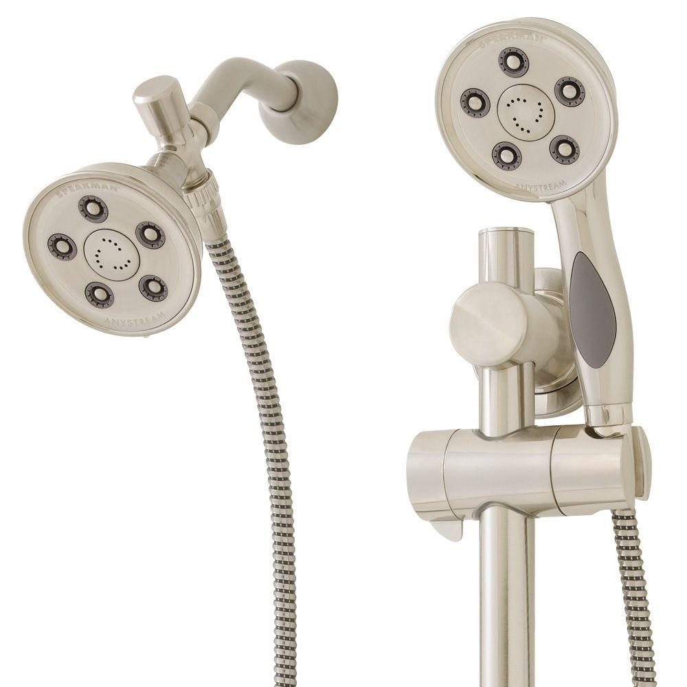 dual shower head bar. speakman anystream caspian 9-spray hand shower and head combo kit in brushed nickel-vs-123014-bn - the home depot dual bar r