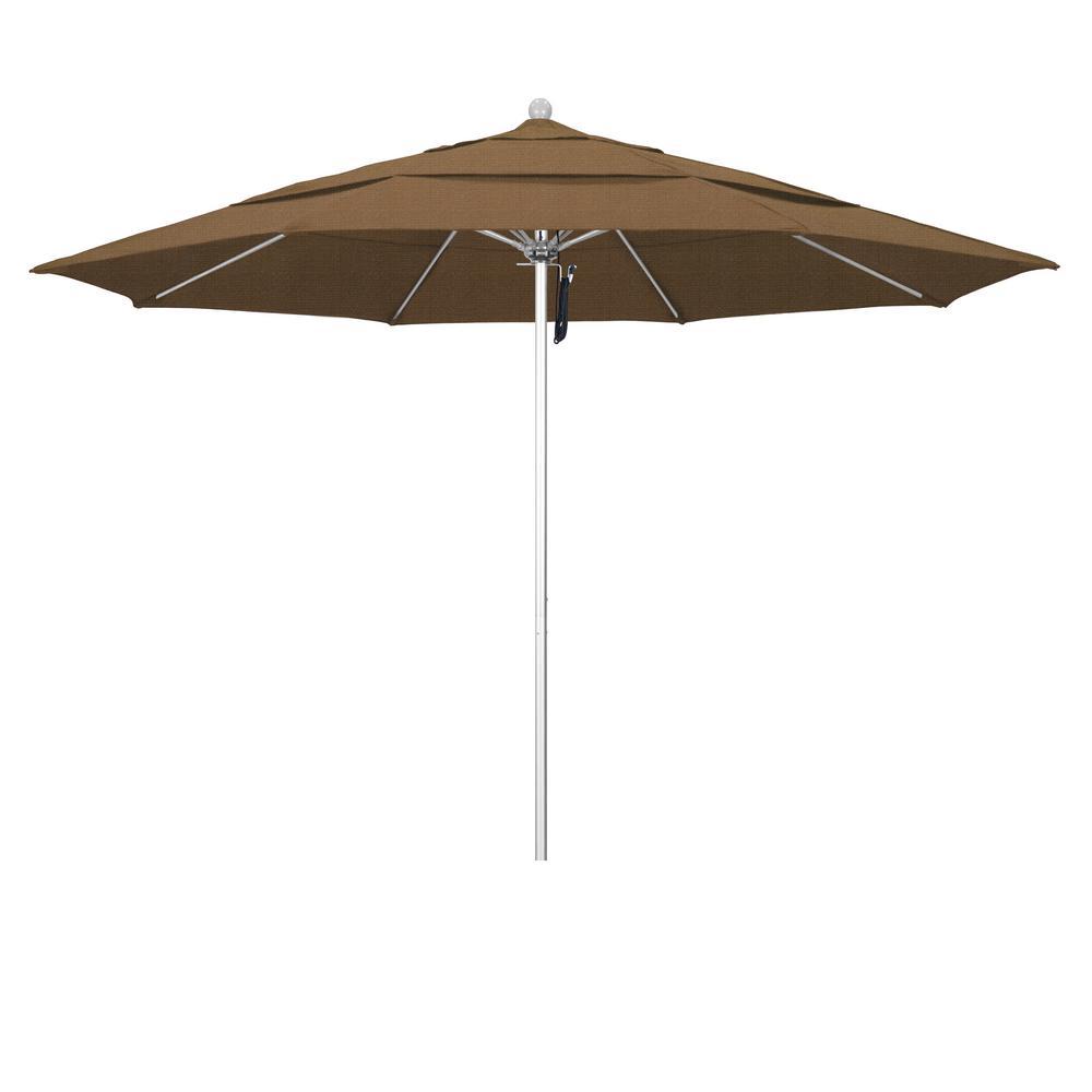 11 ft. Silver Anodized Fiberglass Market Patio Umbrella PO DVent in Woven Sesame Olefin