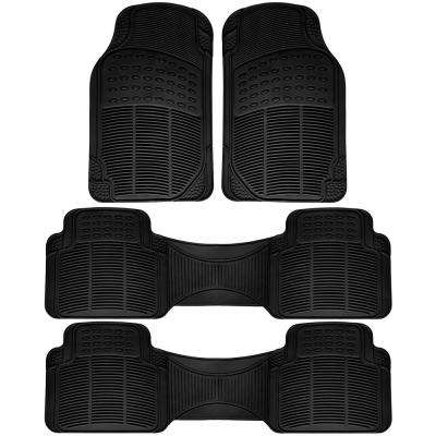 Black 4-Piece Heavy-Duty 16.5 in. x  50 in. Floor Mats