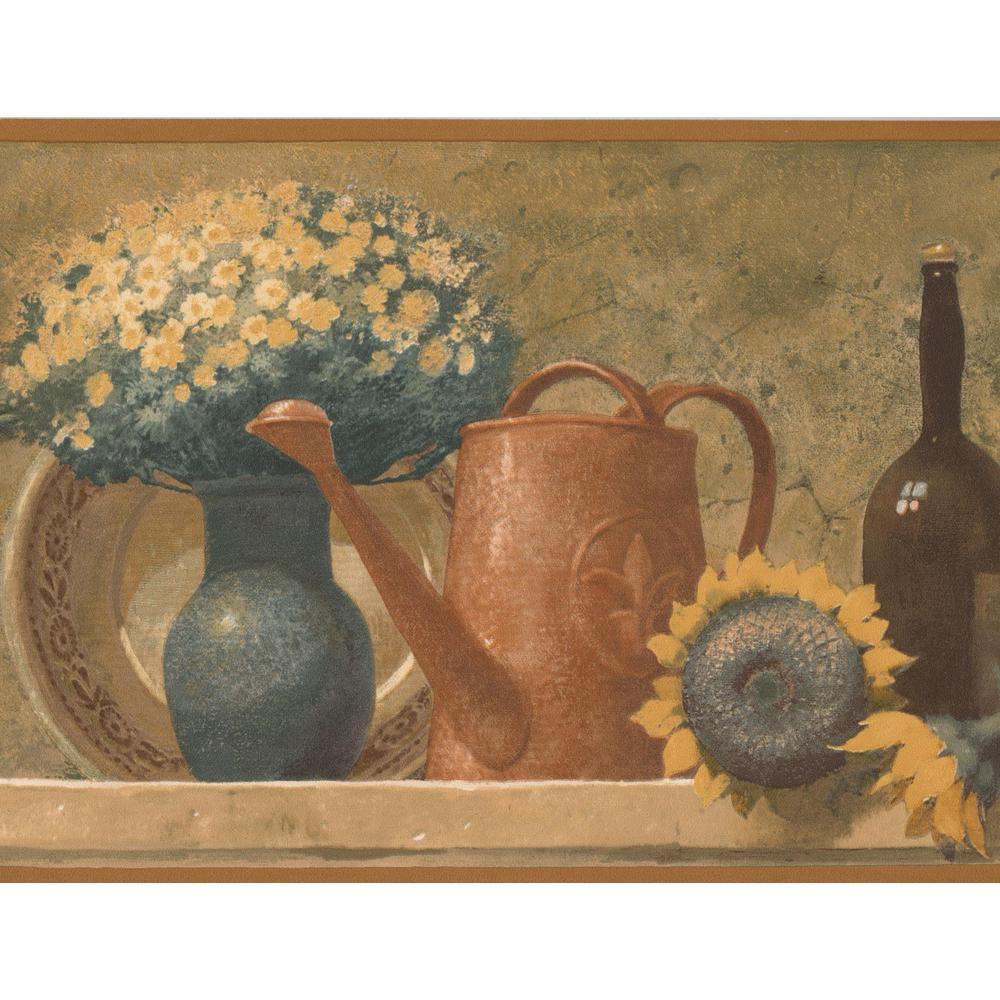 Norwall Fruit Basket Bouquet Wine Bottles On Mantel Kitchen Vintage Prepasted Wallpaper Border Tk78269 The Home Depot