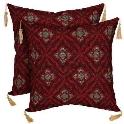 Geo Floral Berry Square Outdoor Throw Pillow with Tassels (2-Pack)