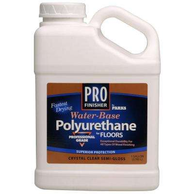 1 gal. Clear Semi-Gloss Water-Based Interior Polyurethane for Floors (Case of 4)