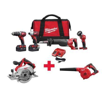 M18 18-Volt Lithium-Ion Cordless Combo Kit (4-Tool) with Free M18 6-1/2 in. Circular Saw and M18 Blower