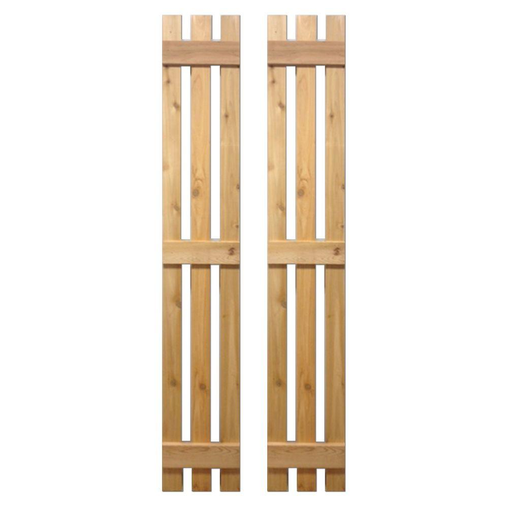 12 in. x 75 in. Natural Cedar Baton Spaced Shutters Pair