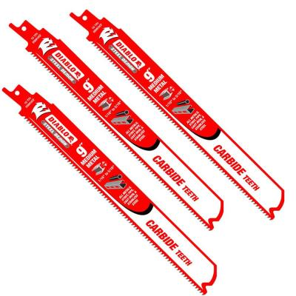 9 in. 10 TPI Steel Demon Carbide Medium Metal Cutting Reciprocating Saw Blade (3-Pack)