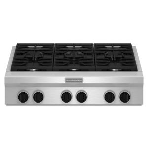 Kitchenaid 36 In Gas Cooktop In Stainless Steel With 6 Burners