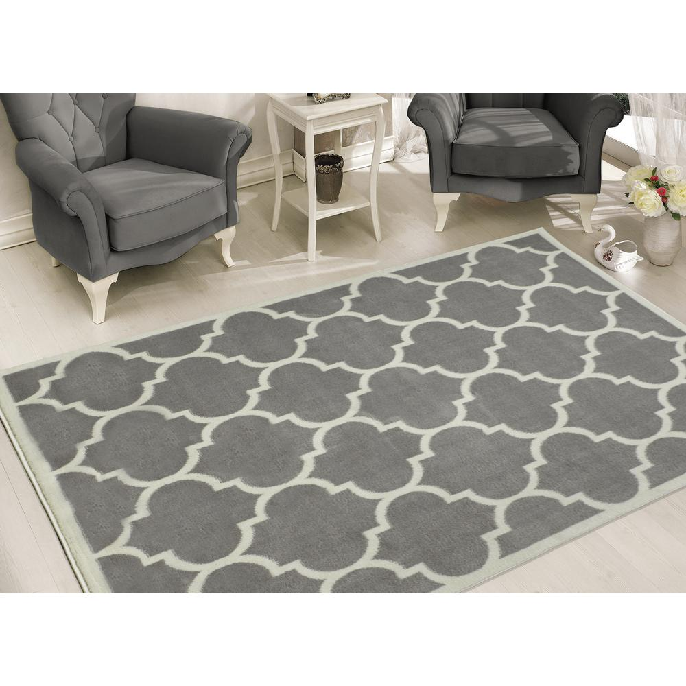 Sweet Home Stores Contemporary Moroccan Trellis Gray 7 Ft. 10 In. X 9 Ft