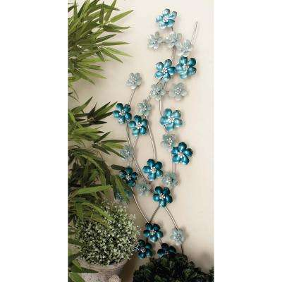 13 in. x 50 in. Iron Light Blue Flowers Wall Decor