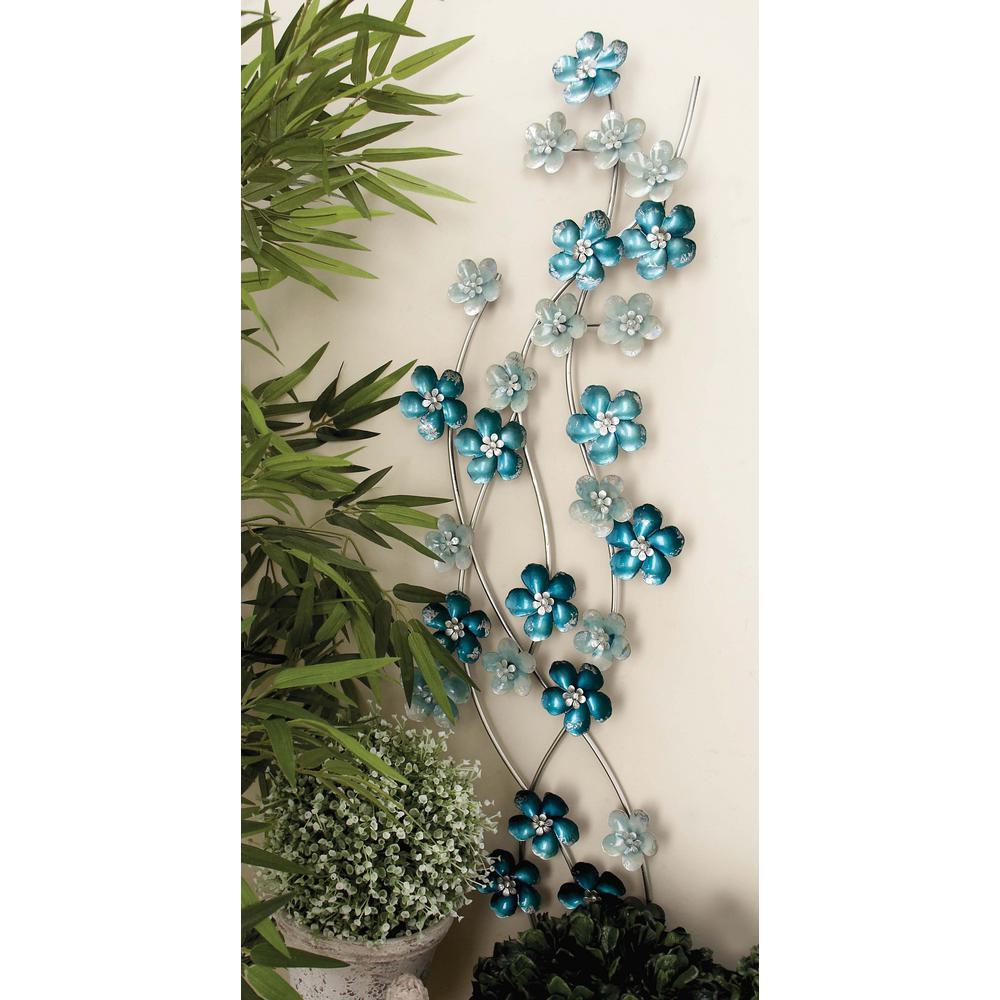 Iron Light Blue Flowers Wall Decor