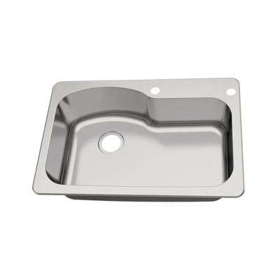 Dual Mount 18-Gauge Stainless Steel 33 in. 2-Hole Euro Style Single Bowl Kitchen Sink
