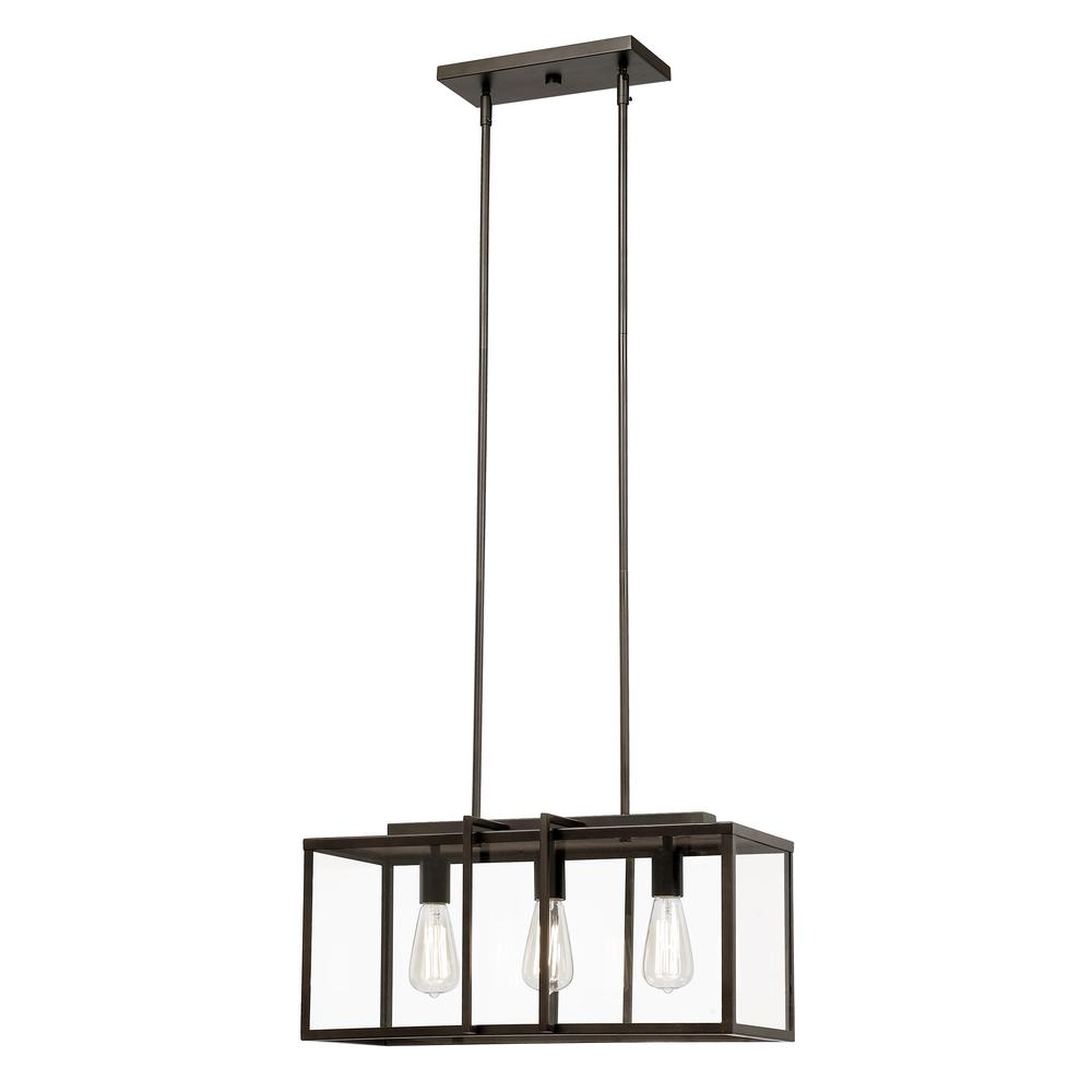 Bel Air Lighting Eastwood II 3-Light Rubbed Oil Bronze Pendant with Clear Glass Panels
