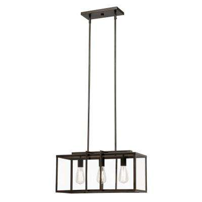 Eastwood II 3-Light Rubbed Oil Bronze Pendant with Clear Glass Panels