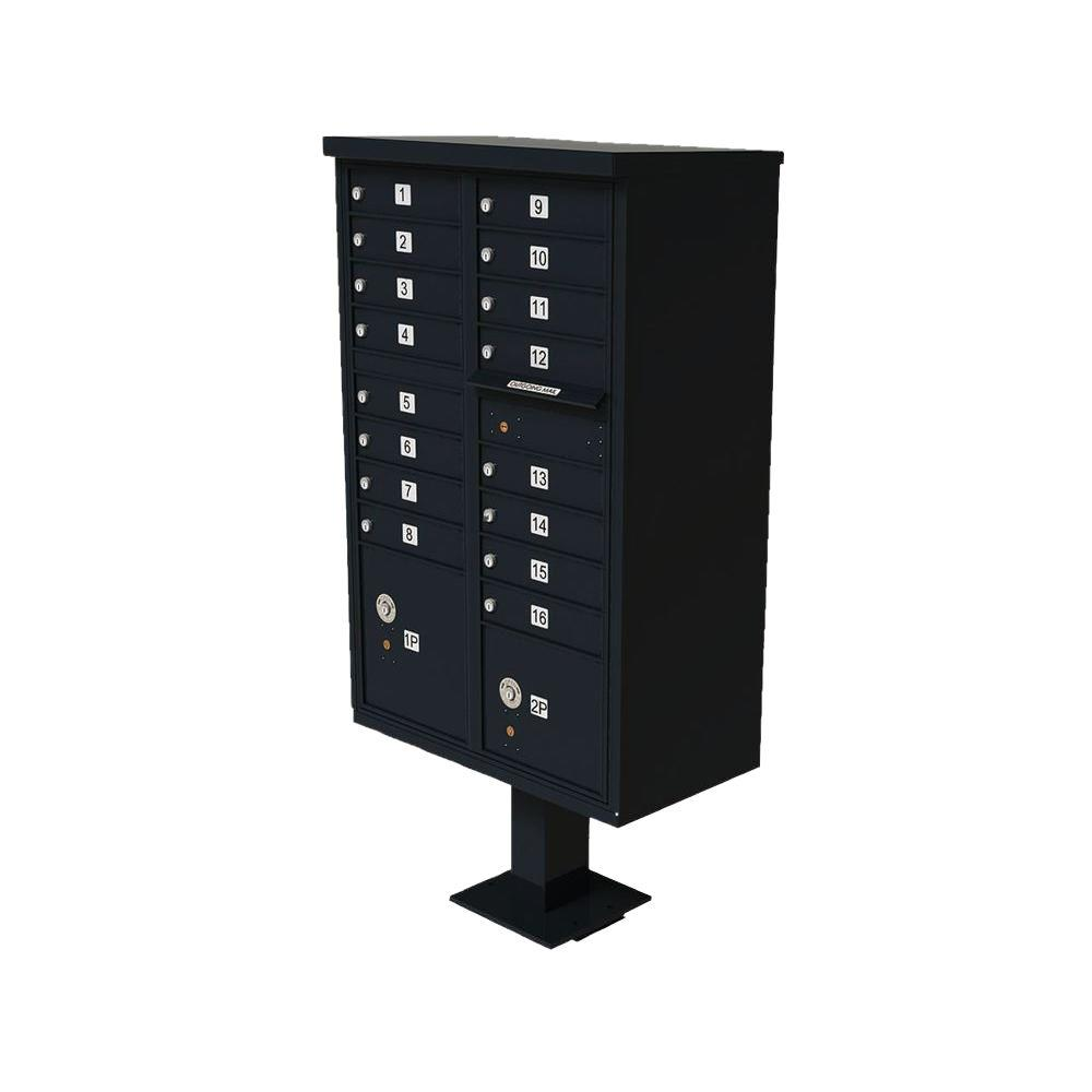 Florence Vital 1570 Series Black CBU with 16 Mailboxes, 1 Outgoing Mail Compartment, 2 Parcel Lockers