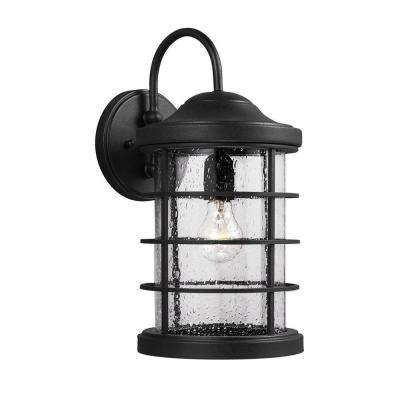 Sauganash 1-Light Medium Outdoor Black Wall Lantern with Clear Seeded Glass