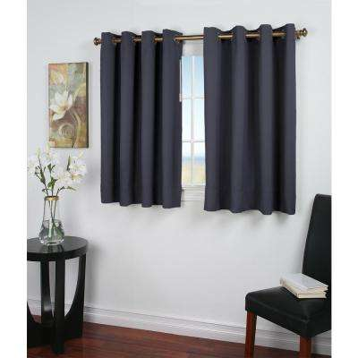 Ultimate Blackout 56 in. W x 45 in. L Polyester Short Length Blackout Window Panel in Blue