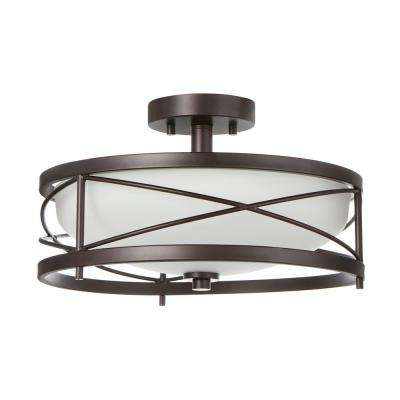 2-Light Oil Rubbed Bronze Semi-Flushmount