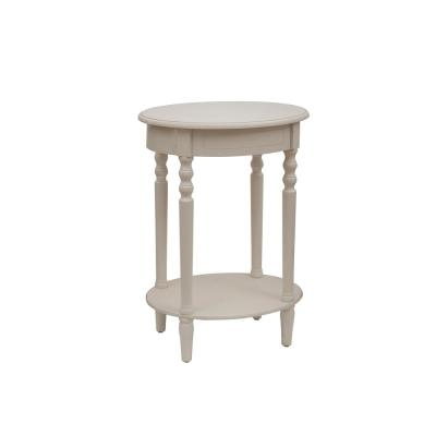Simplify Antique White Oval End Table
