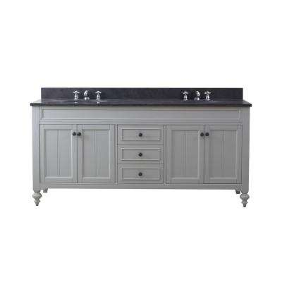 Potenza 72 in. W x 33 in. H Vanity in Earl Grey with Granite Vanity Top in Blue Limestone with White Basins and Faucets