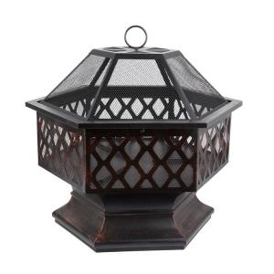 24.41 in. W x 25.20 in. H Outdoor Iron Black Fire pit