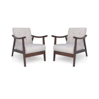 Chabani Mid-Century Modern Tufted Beige Fabric Accent Chairs (Set of 2)