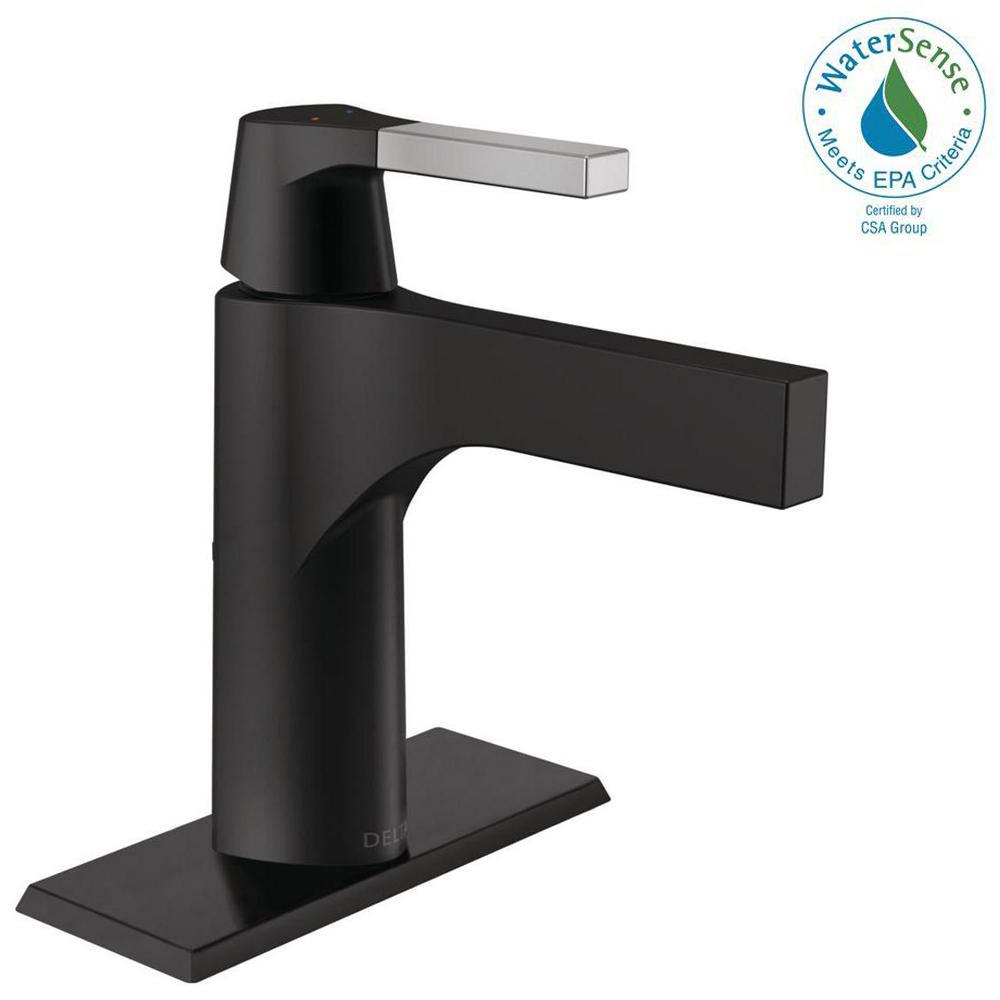 Delta Zura Single Hole Single-Handle Bathroom Faucet with Metal ...