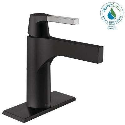 Zura Single Hole Single-Handle Bathroom Faucet with Metal Drain Assembly in Chrome/Matte Black
