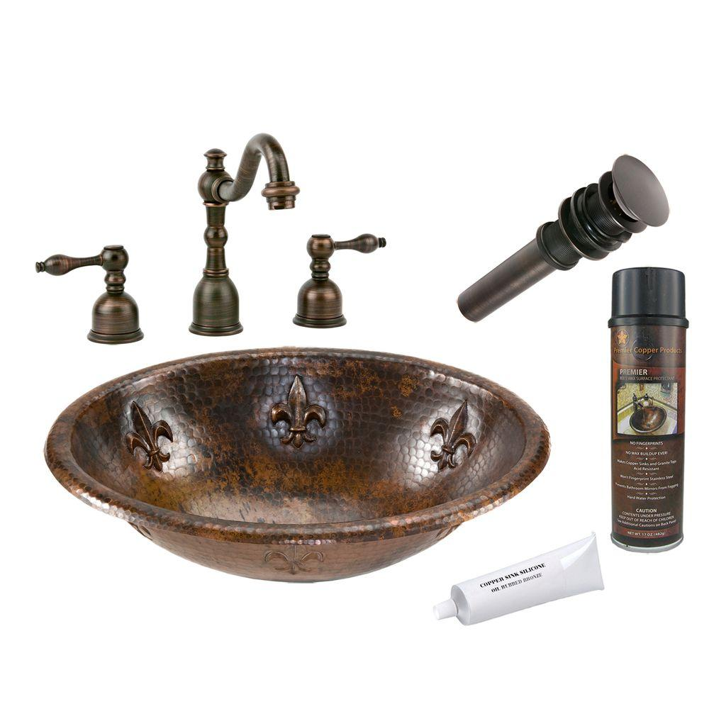 All-in-One Oval Fleur De Lis Self Rimming Hammered Copper Bathroom Sink