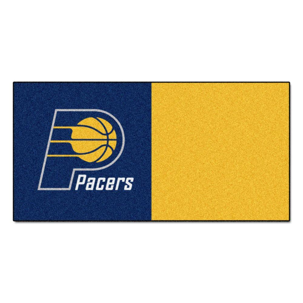 FANMATS NBA Indiana Pacers Blue and Gold Pattern 18 in. x 18 in. Carpet Tile (20 Tiles/Case)