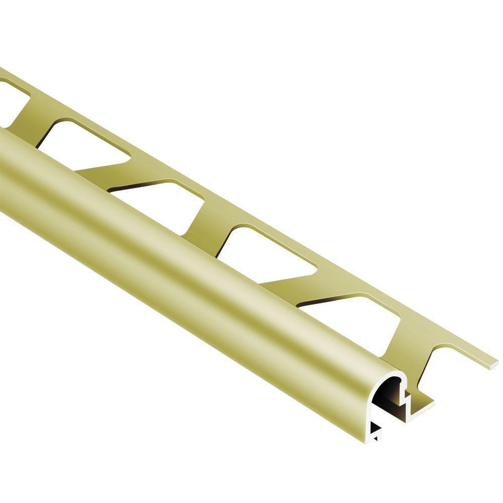 Rondec-DB Satin Brass Anodized Aluminum 17/32 in. x 8 ft. 2-1/2 in. Metal Bullnose Tile Edging Trim