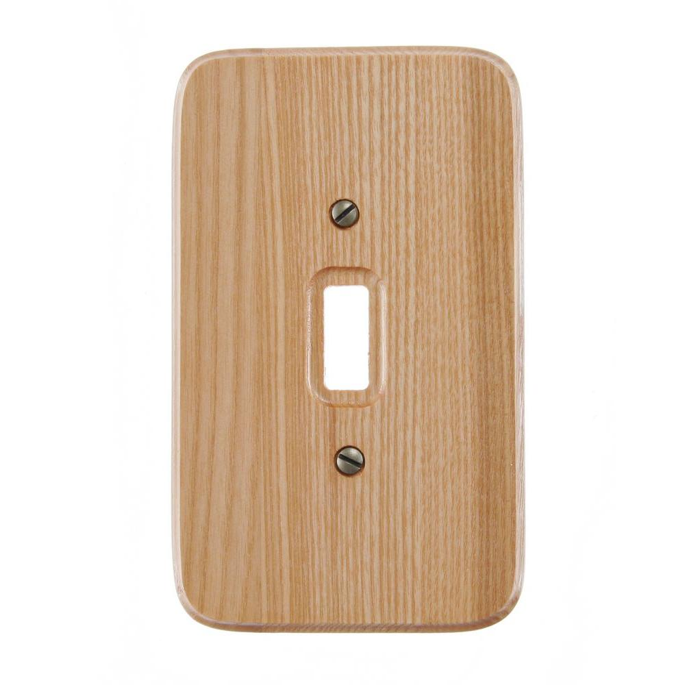 Amerelle 1 Toggle Wall Plate Natural Oak 196t The Home Depot