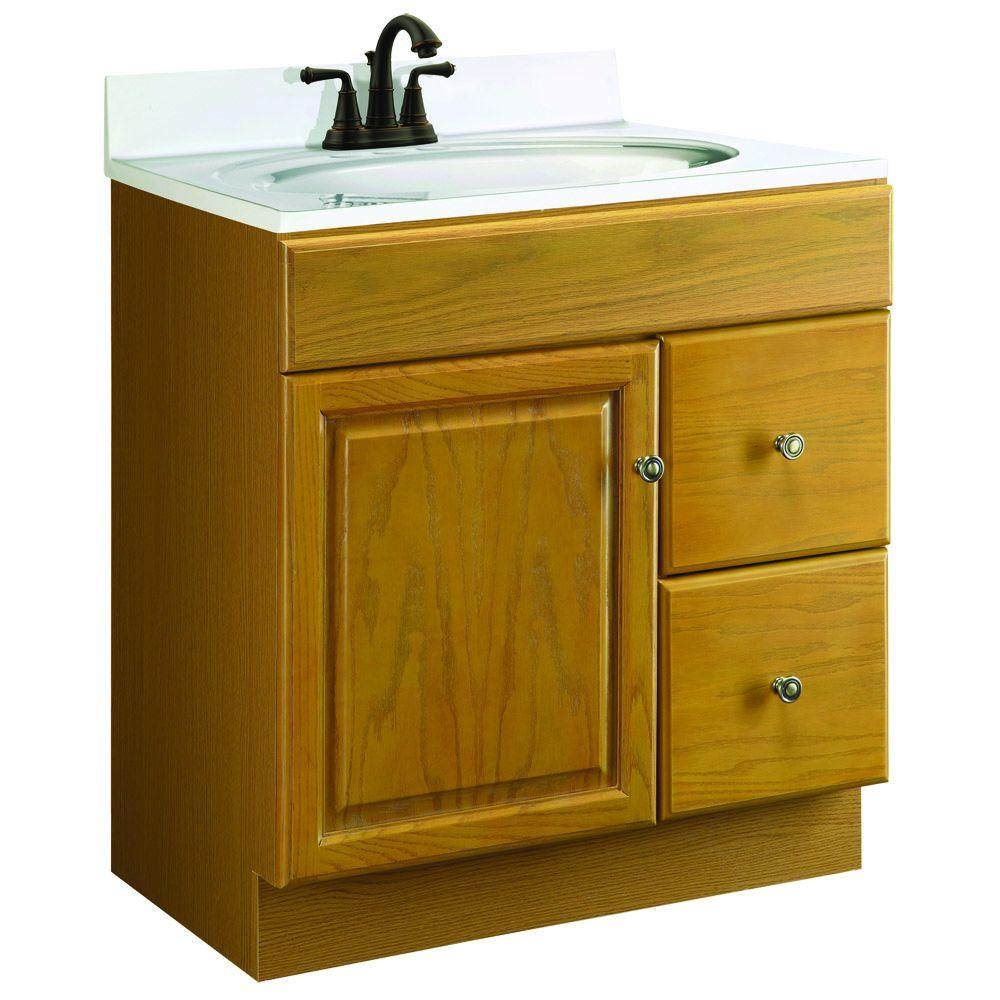 Design House Claremont 30 in. W x 18 in. D Unassembled Vanity Cabinet Only in Honey Oak