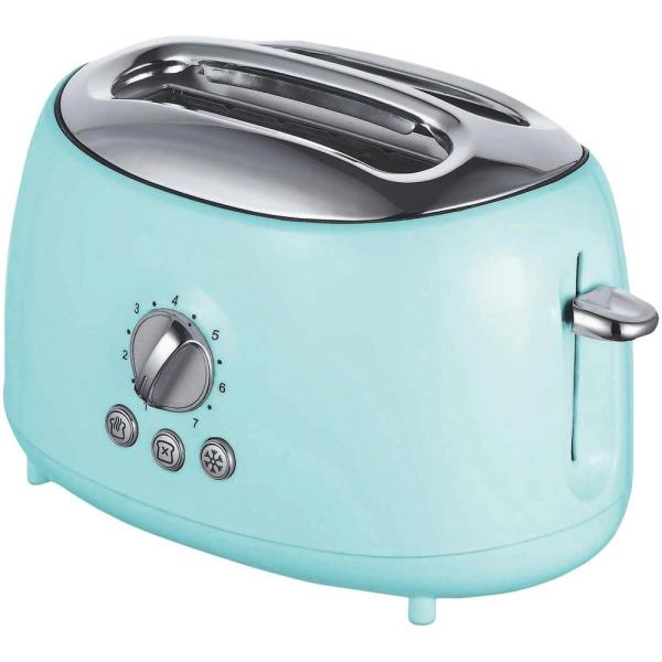 Retro 2-Slice Blue Extra-Wide Slot Toaster with Cool-Touch Exterior