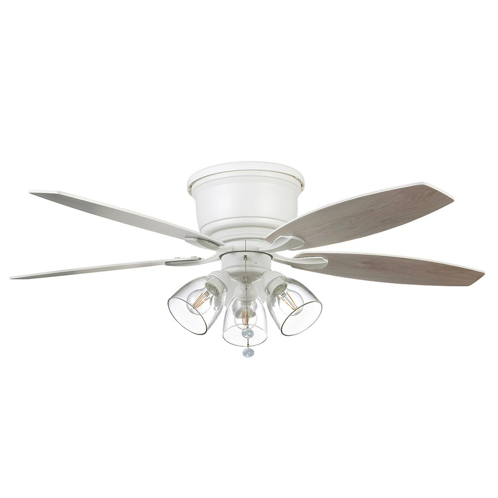 Hampton Bay Stoneridge 52 In Matte White Hugger Led Ceiling Fan With Light Kit 51823 The Home Depot