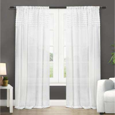 Barcelona 50 in. W x 84 in. L Sheer Rod Pocket Top Curtain Panel in Winter White (2 Panels)