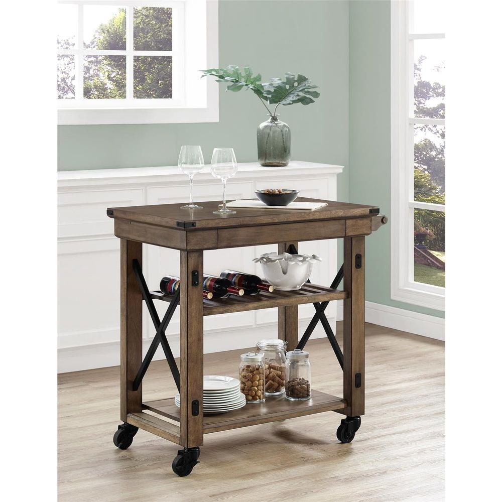 High Quality Altra Furniture Wildwood Rustic Gray Serving Cart With Slatted Shelf