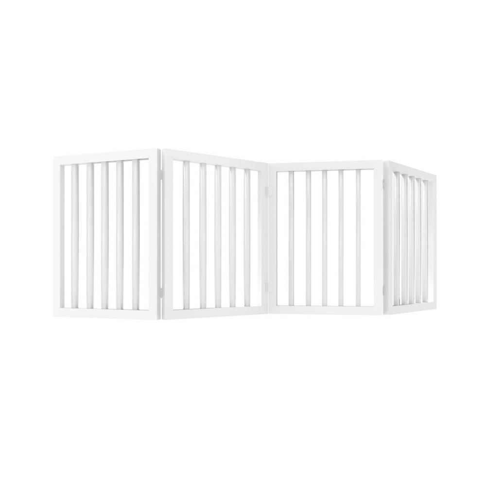 4-Panel Wooden Freestanding Folding Pet Gate in White