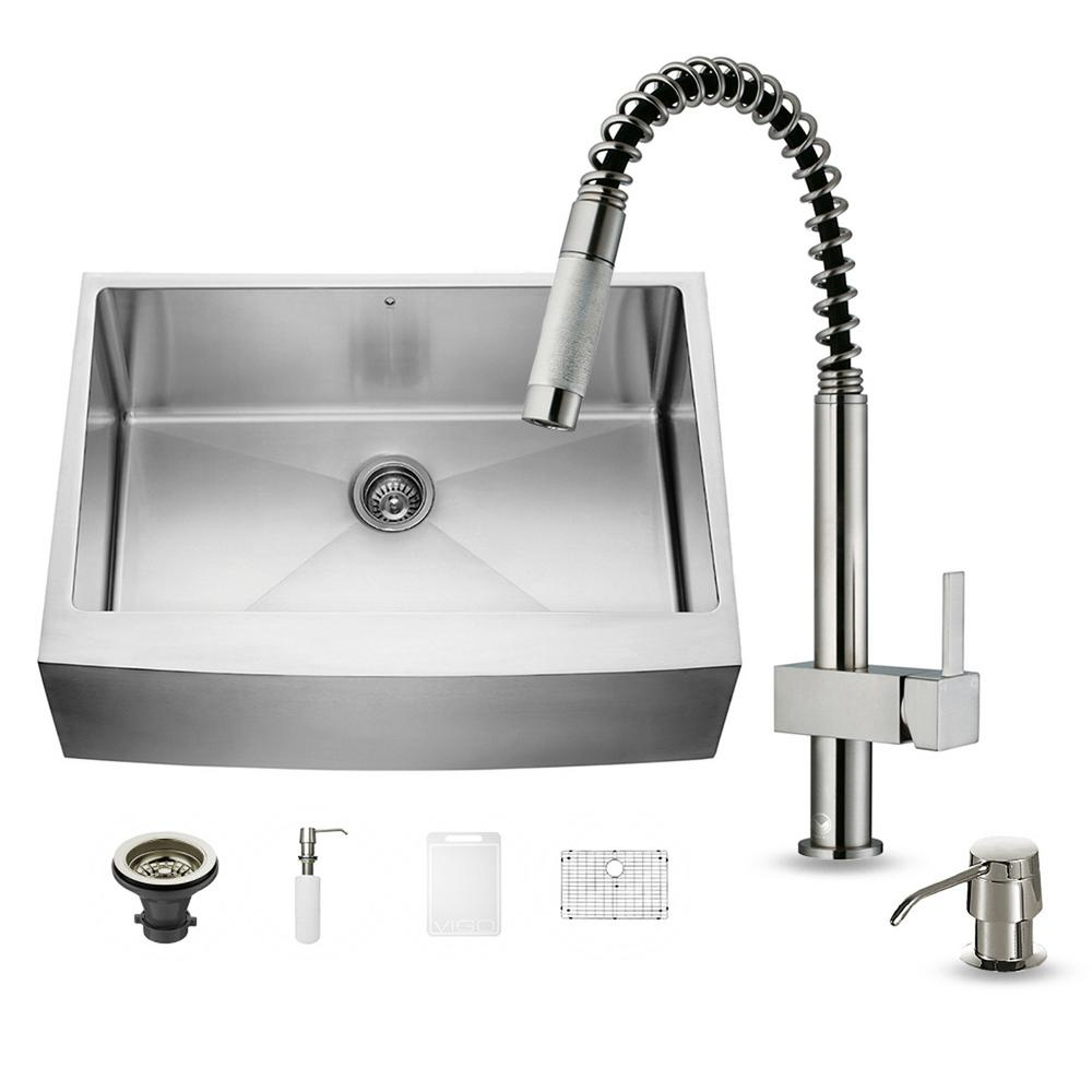 VIGO All-in-One Farmhouse Apron Front Stainless Steel 30 in. 0-Hole Single Basin Kitchen Sink Set in Stainless Steel