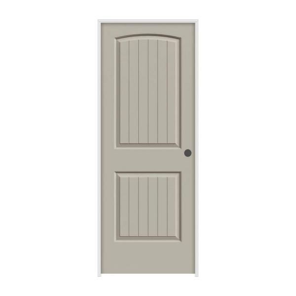 32 in. x 80 in. Santa Fe Desert Sand Painted Left-Hand Smooth Molded Composite MDF Single Prehung Interior Door