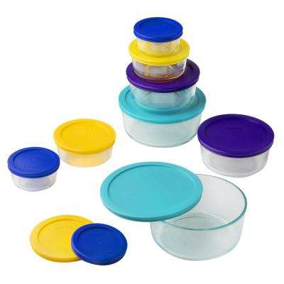 Simply Store Love 18-Piece Round Glass Storage Set with Assorted Colored Lids