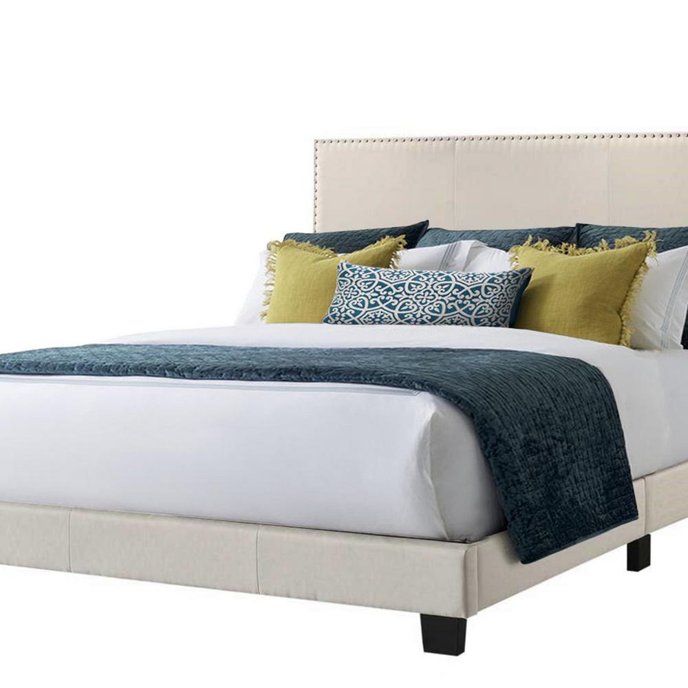 Royale Beige Linen Queen Upholstered Bed