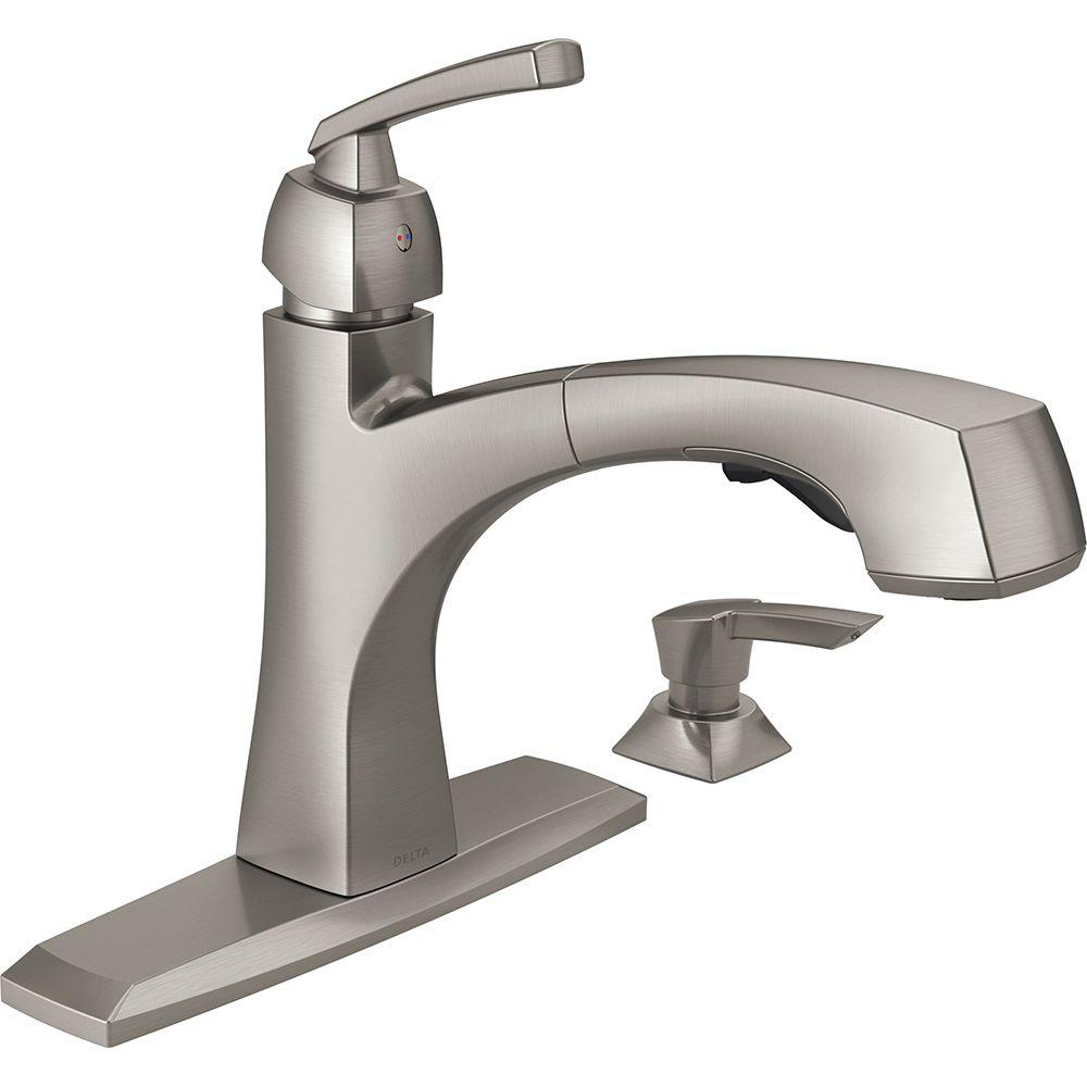 Delta Montauk Single Handle Pull Out Sprayer Kitchen Faucet With Soap Dispenser And Magnatite Docking In Spotshield Stainless 16959 Spsd Dst The Home Depot