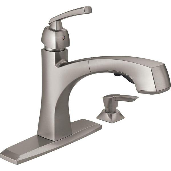 Reviews For Delta Montauk Single Handle Pull Out Sprayer Kitchen Faucet With Soap Dispenser And Magnatite Docking In Spotshield Stainless 16959 Spsd Dst The Home Depot