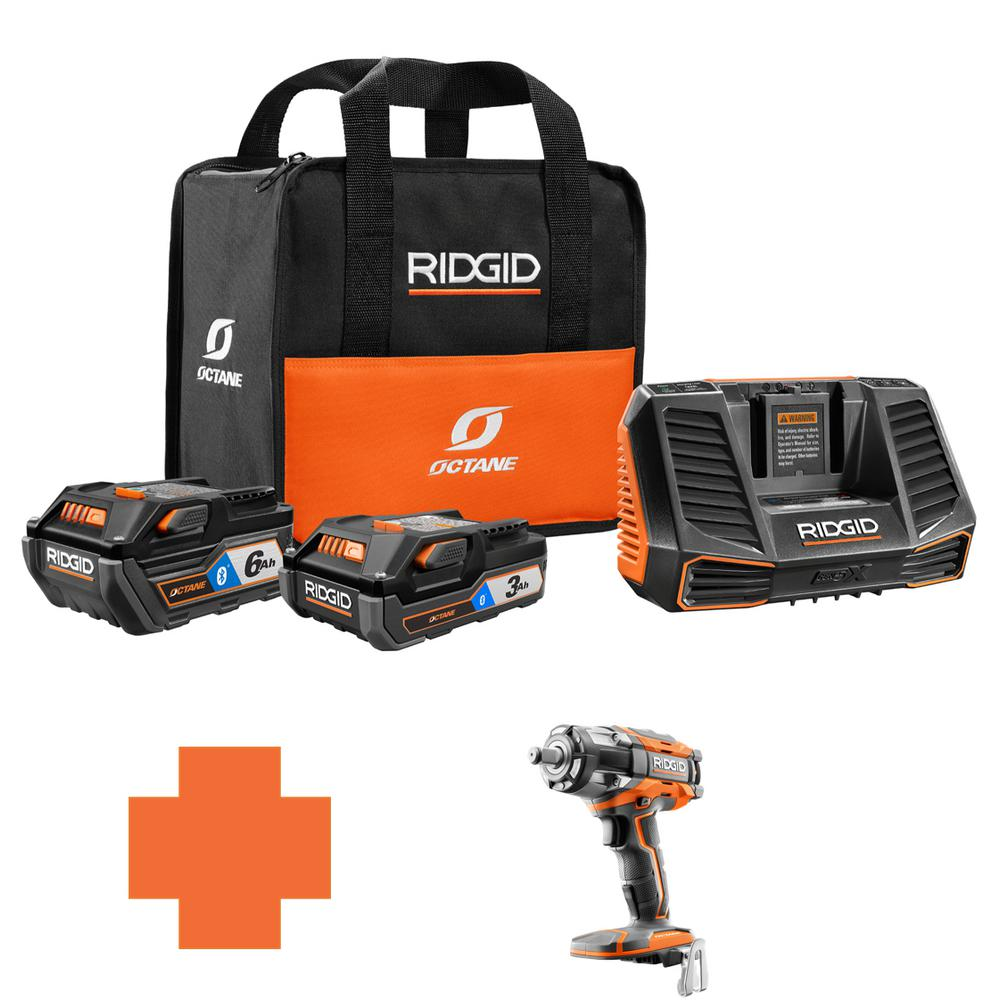 RIDGID 18-Volt OCTANE Battery and Charger Kit w/(1) 3.0 Ah, (1) 6.0 Ah Battery and Charger w/Bonus 1/2 in. Impact Wrench