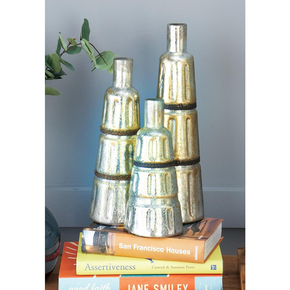 Tapered Gray Decorative Glass Bottles (Set of 3)