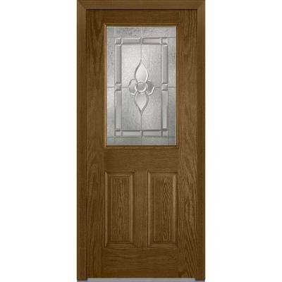 32 in. x 80 in. Master Nouveau Right-Hand 1/2-Lite Decorative 2-Panel Classic Stained Fiberglass Oak Prehung Front Door