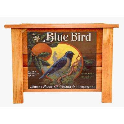 22 in. Cedar Wood Planter Box with Vintage Blue Bird Art