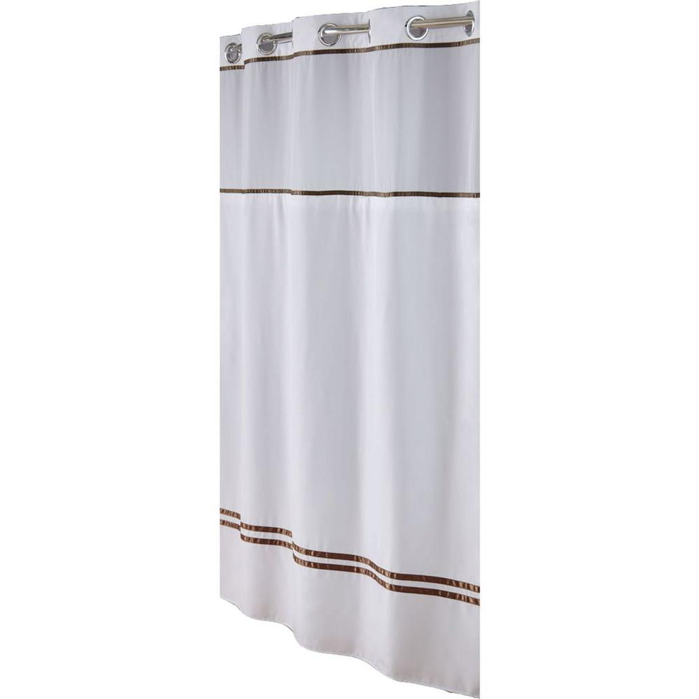 Hookless Shower Curtain in White/Brown Escape